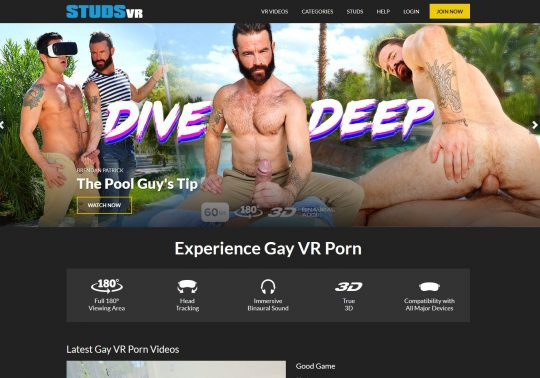 Studs VR Watch Superb Gay Porn Stars in Bareback VR Action