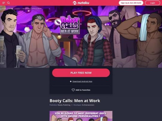 Booty Calls Men At Work Play This Awesome Nutaku Gay Porn Game